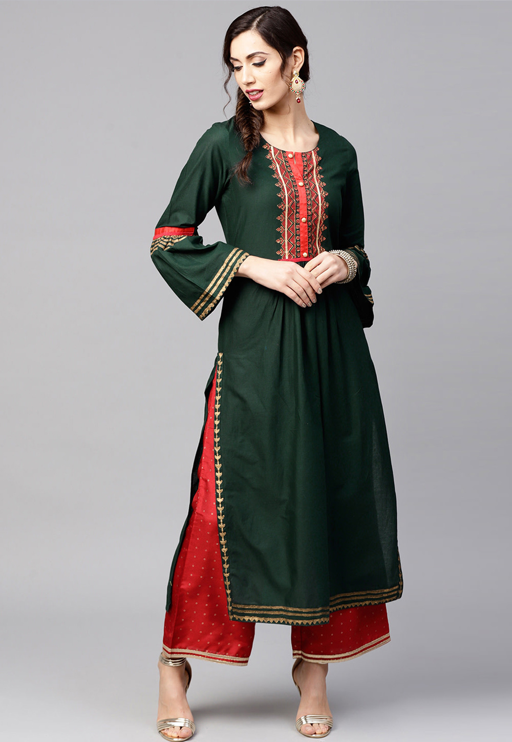 Green Cotton Readymade Kurti 208098