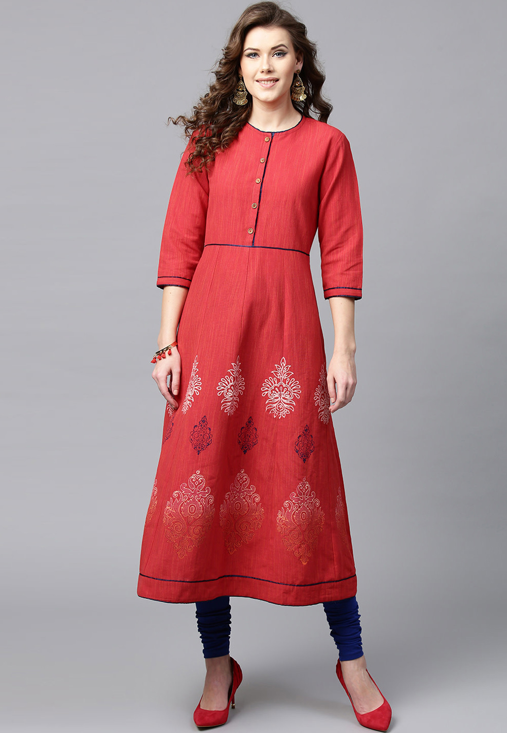 Red Cotton Readymade Tunic 208101