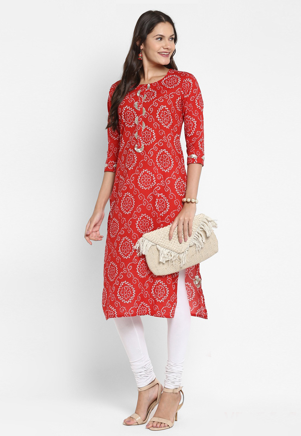 Red Printed Cotton Tunic 224398