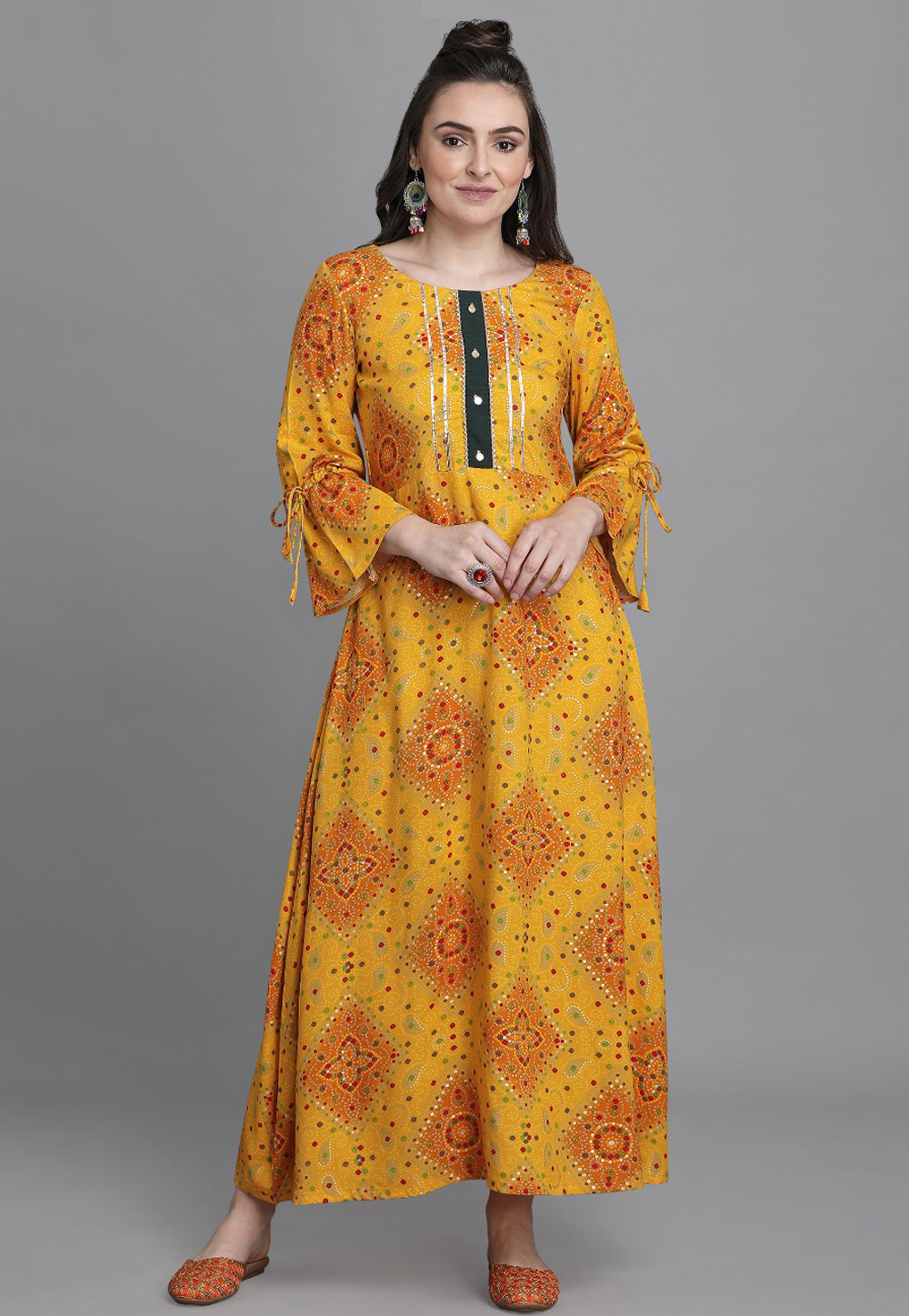 Yellow Rayon Printed Gown 224573