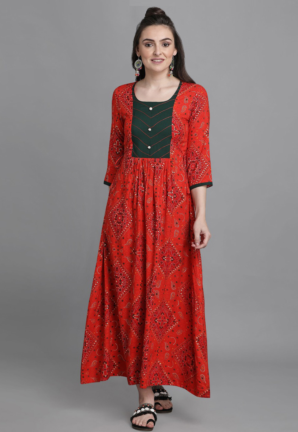 Red Rayon Printed Gown 224575