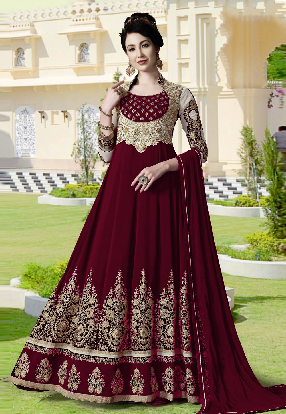 Brown Georgette Embroidered Abaya Style Anarkali Suit 186880