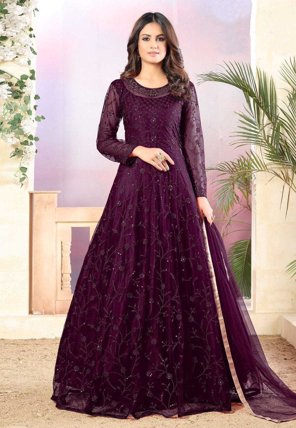 Purple Net Embroidered Floor Length Anarkali Suit 211898