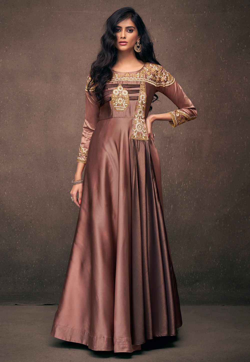 Brown Satin Readymade Gown 158642