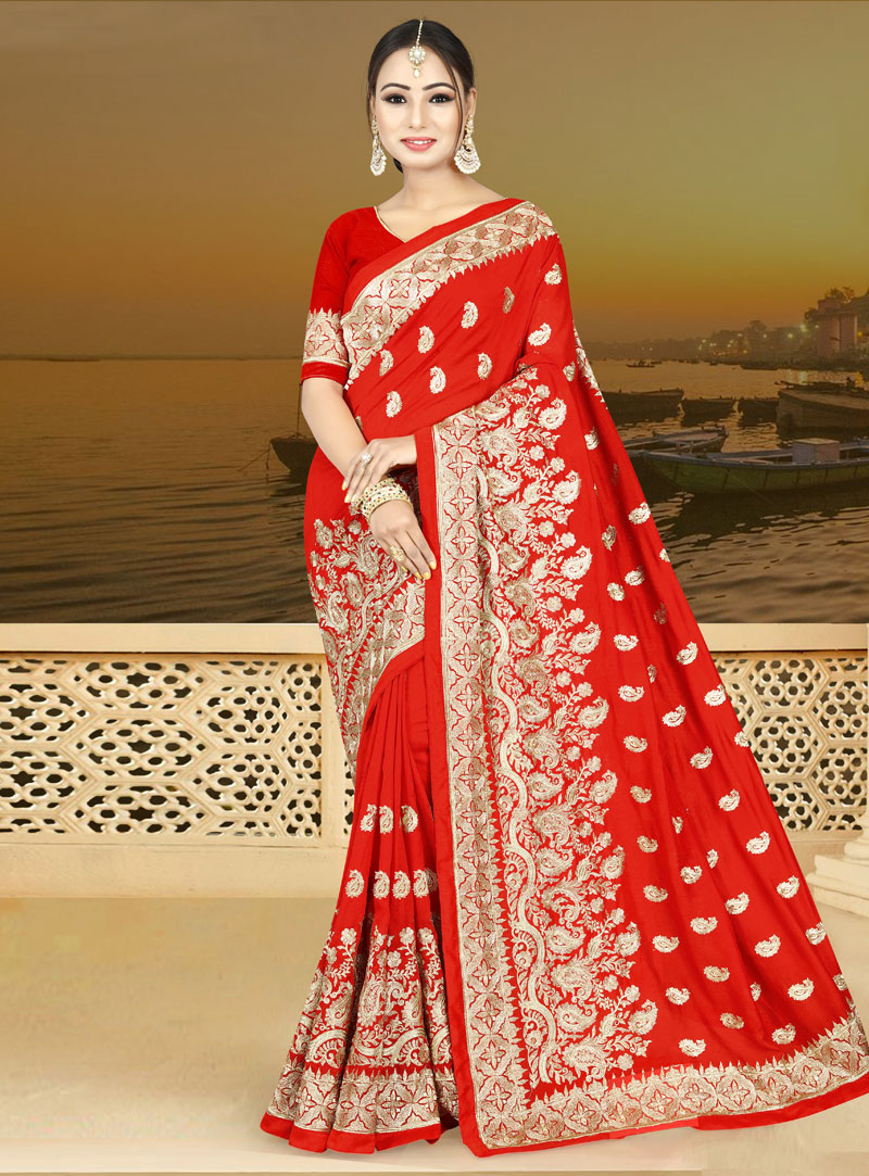 Red Silk Saree With Blouse 146790