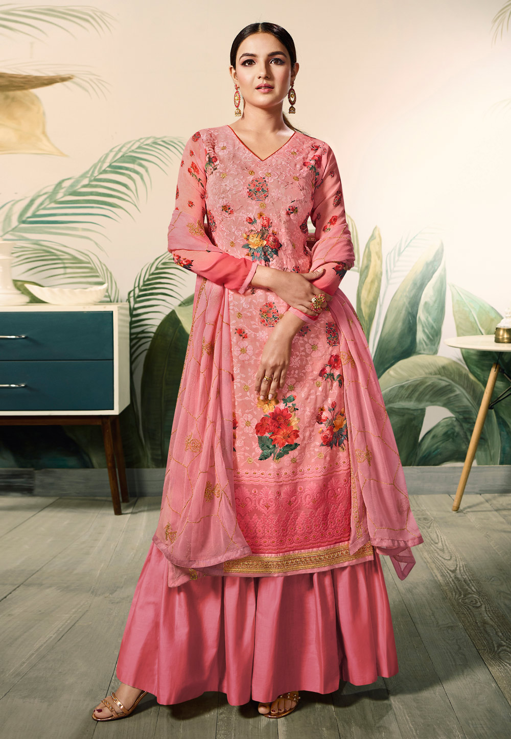 Pink Georgette Palazzo Suit 182734