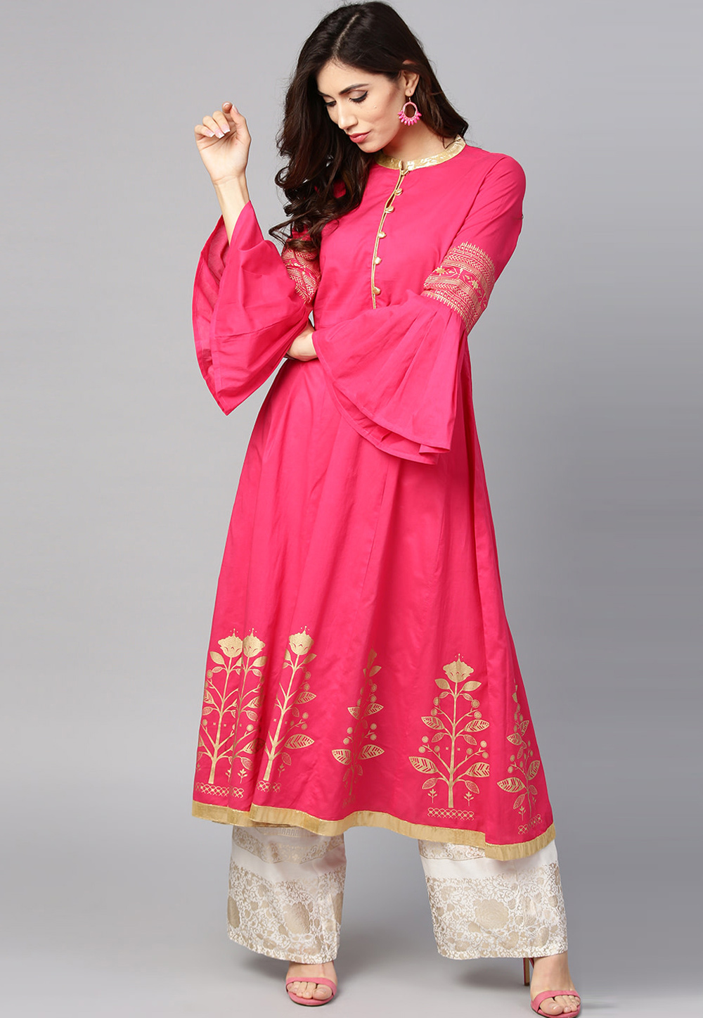 Pink Cotton Readymade Kurti With Frill Sleeve 208194