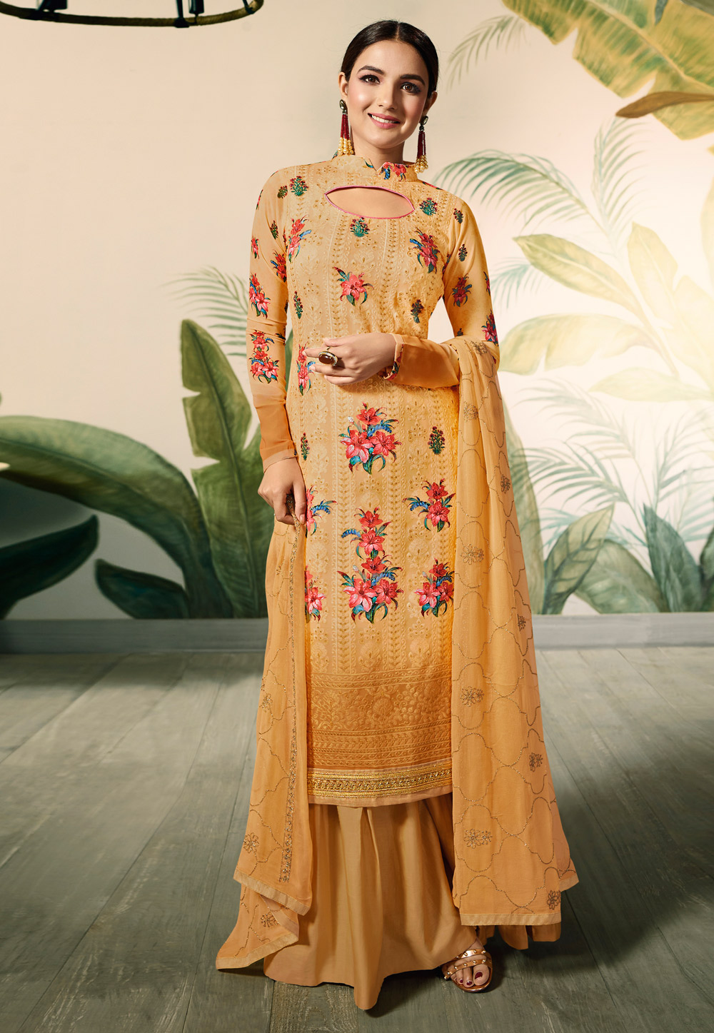 Yellow Georgette Kameez With Palazzo 182739