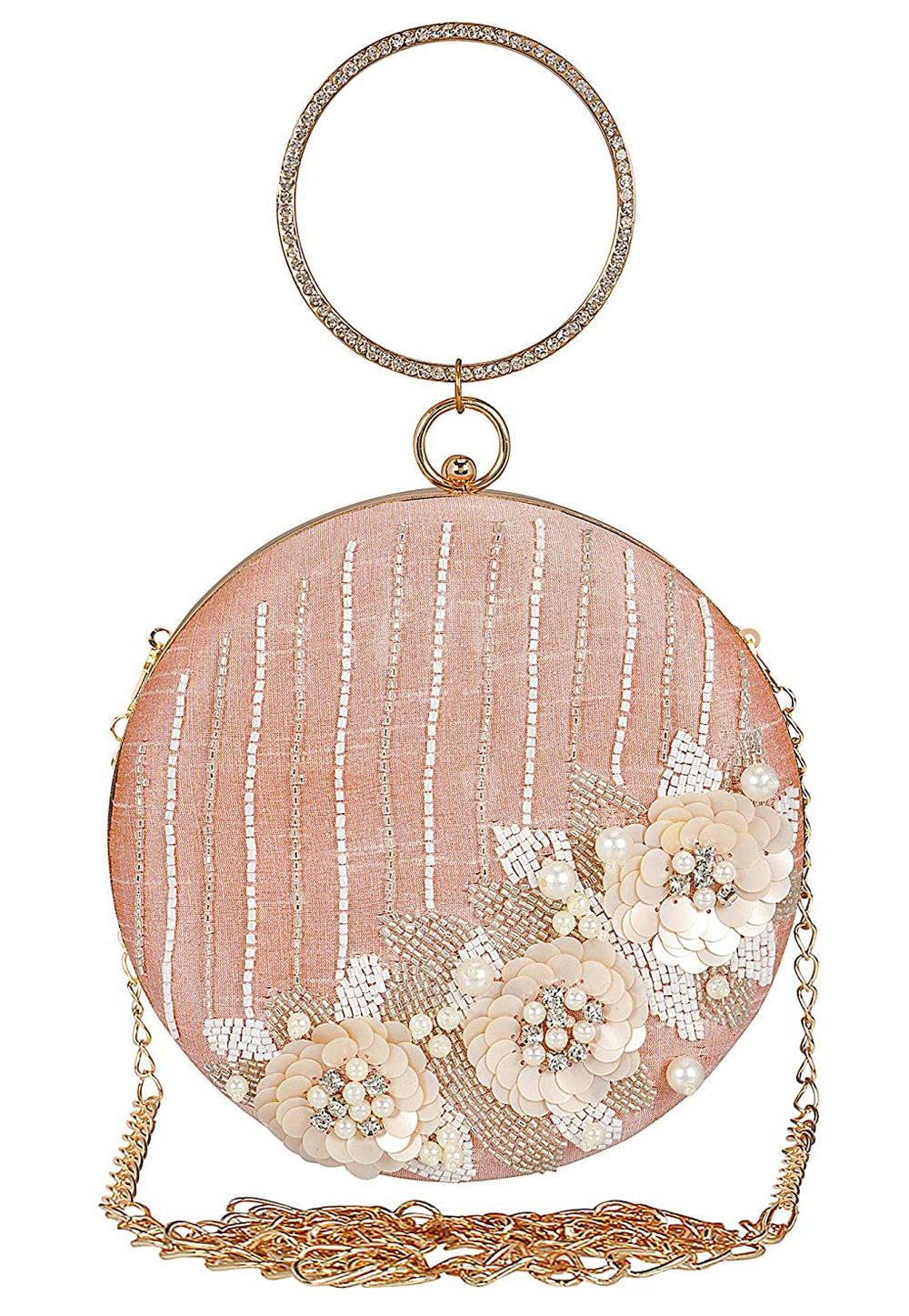 Peach Synthetic Embroidered Clutch 225604
