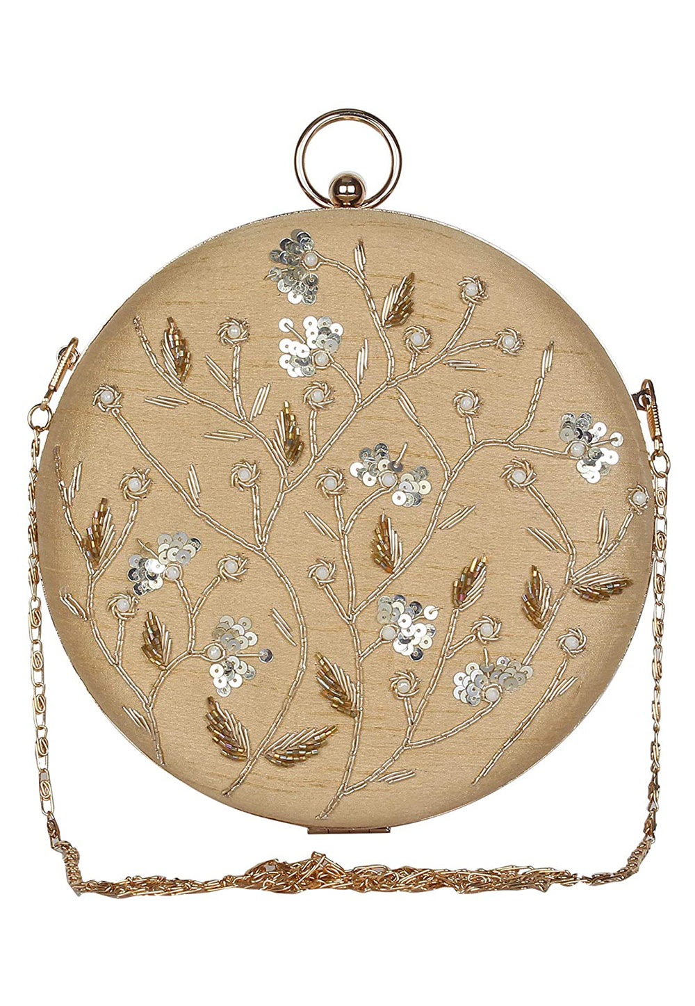 Beige Synthetic Embroidered Clutch 225605