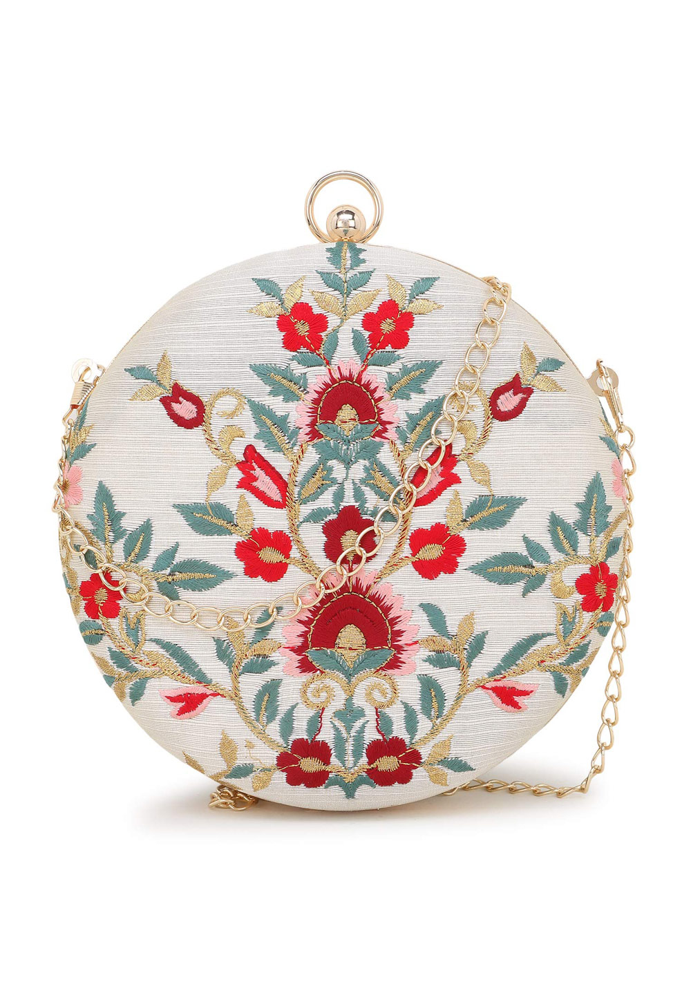 Off White Synthetic Embroidered Clutch 225606