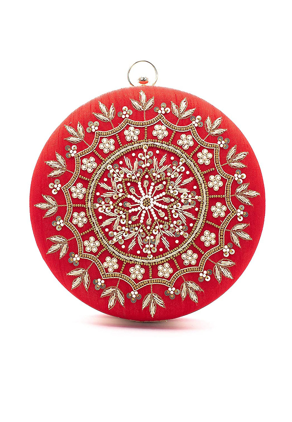 Red Synthetic Embroidered Clutch 225609