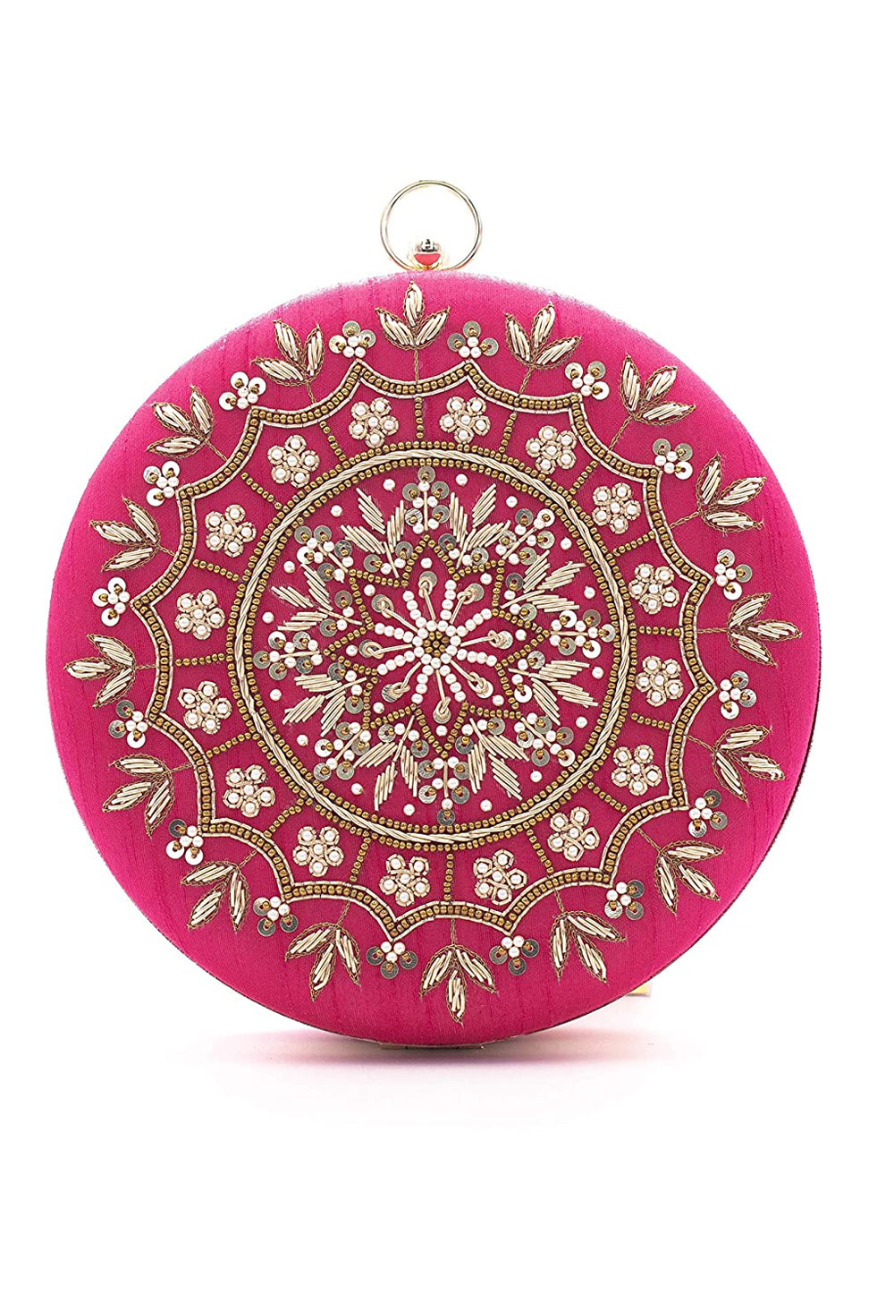 Pink Synthetic Embroidered Clutch 225611