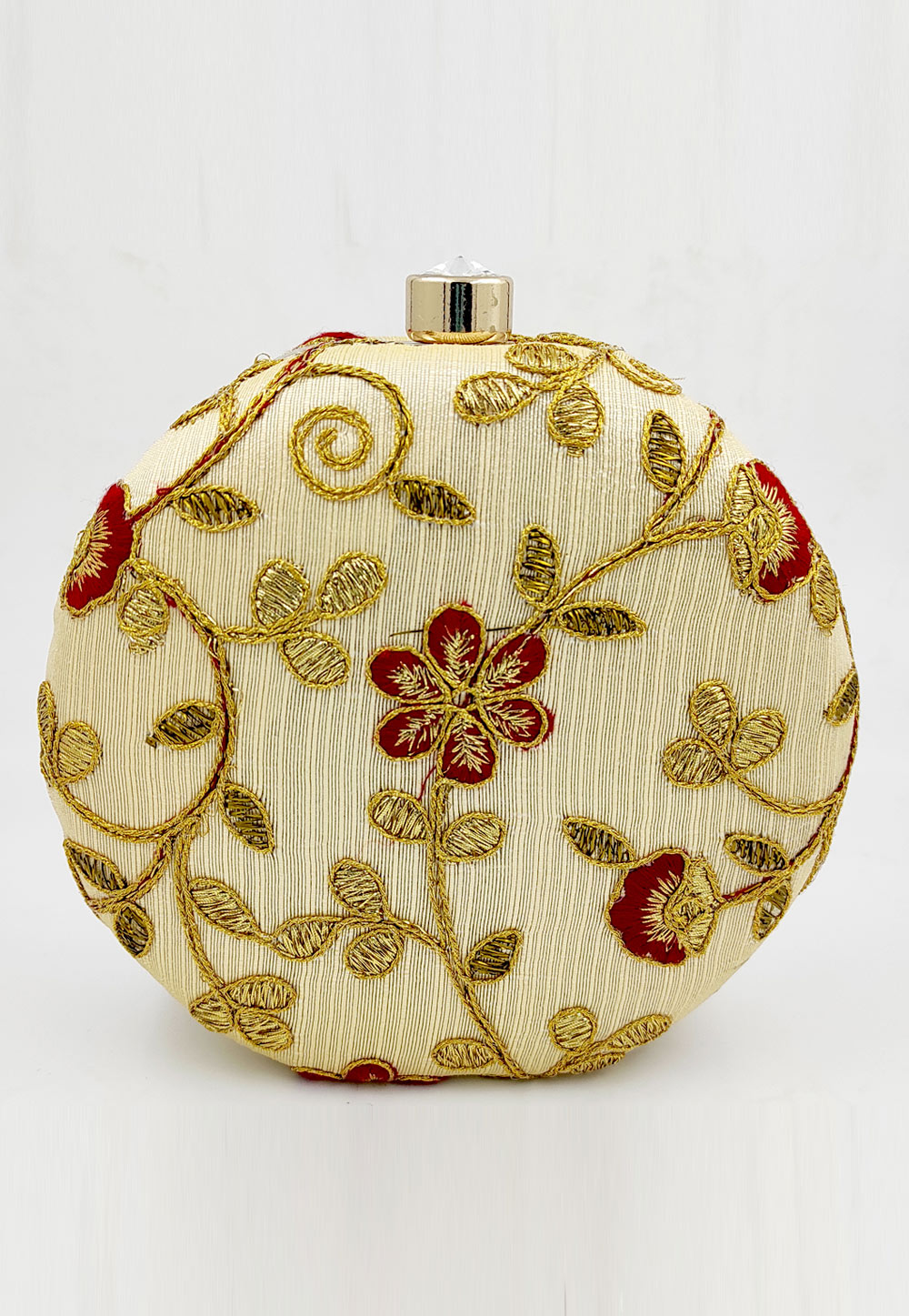 Golden Synthetic Embroidered Clutch 225617