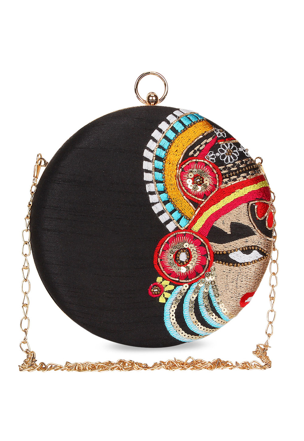 Black Synthetic Embroidered Clutch 225621