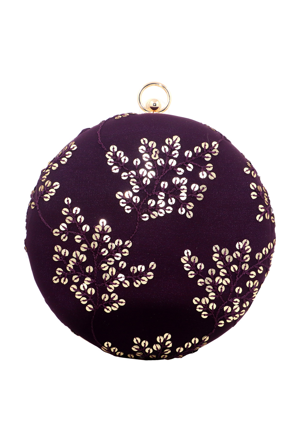 Purple Synthetic Embroidered Clutch 225622