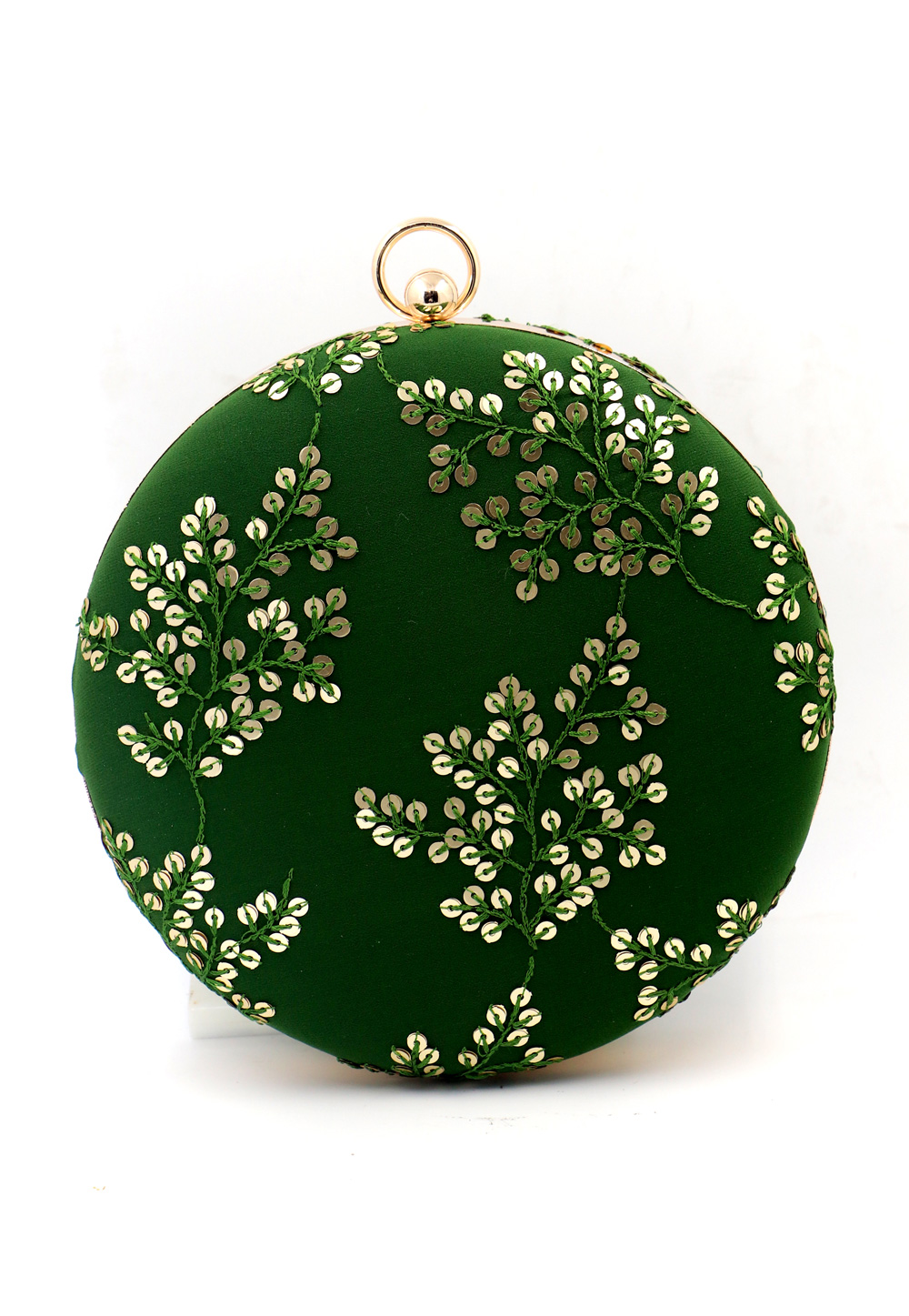 Green Synthetic Embroidered Clutch 225623