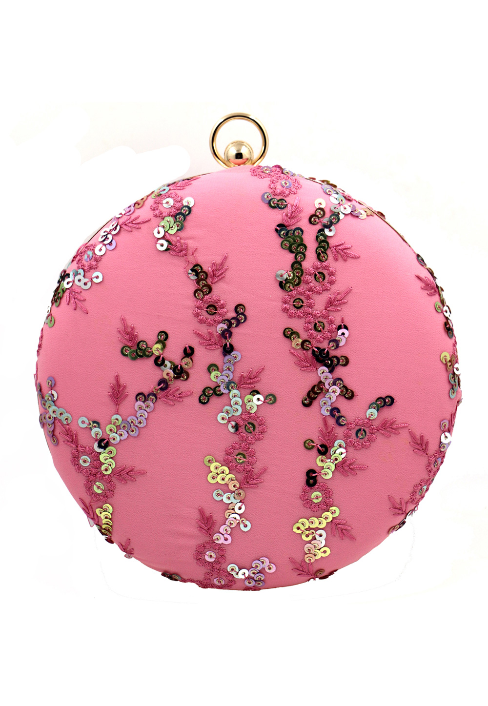 Pink Synthetic Embroidered Clutch 225624