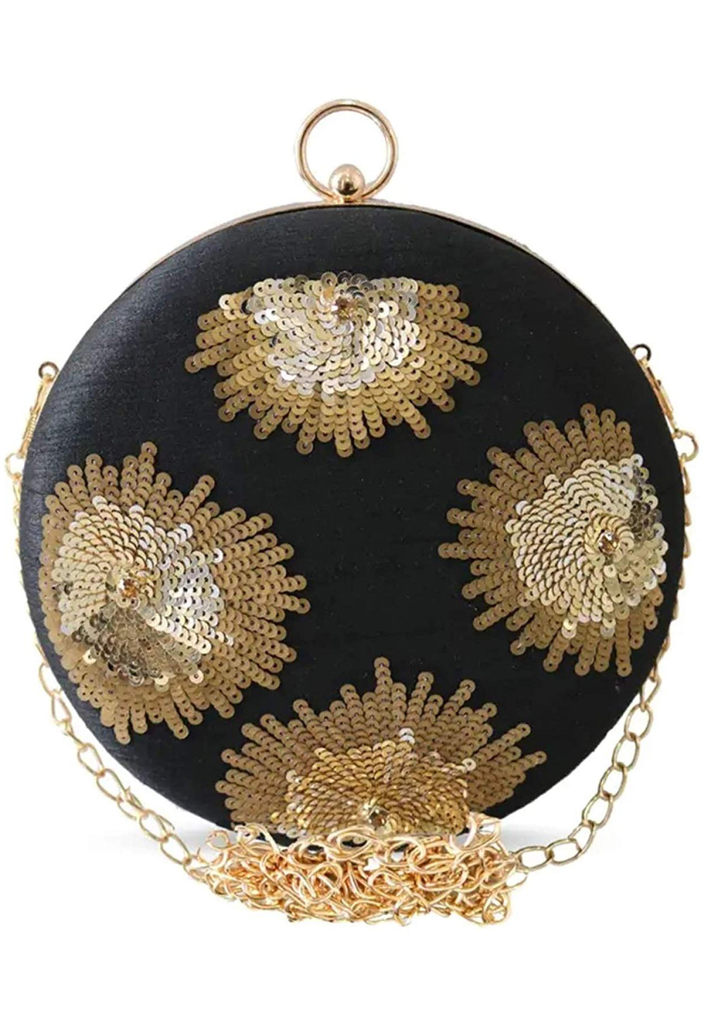 Black Synthetic Embroidered Clutch 225625