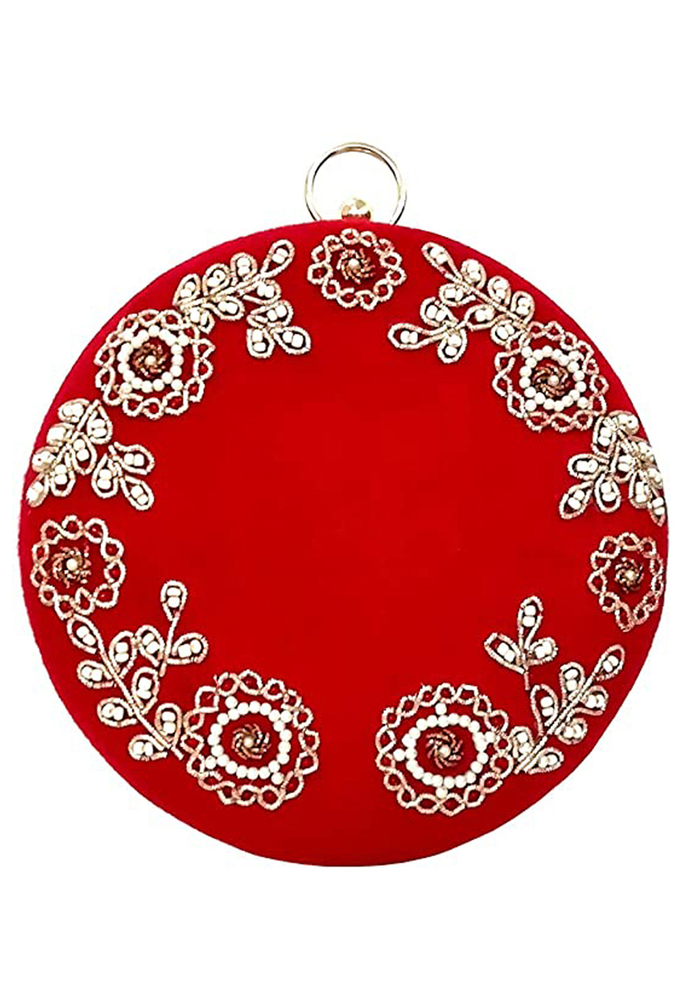 Red Synthetic Embroidered Clutch 225626