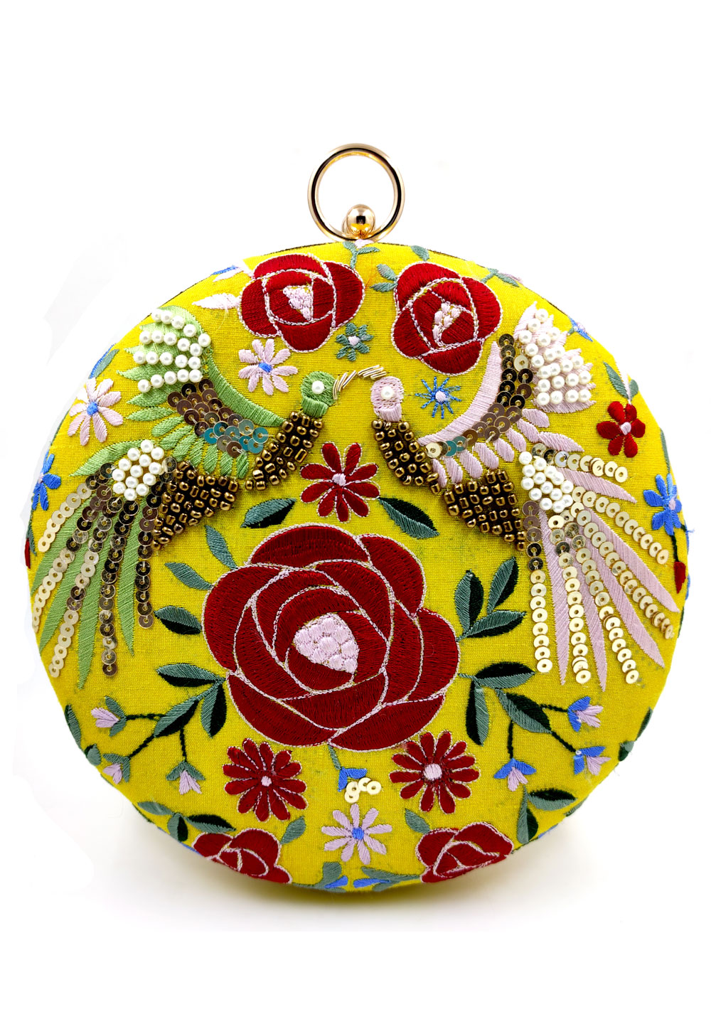Yellow Synthetic Embroidered Clutch 225628