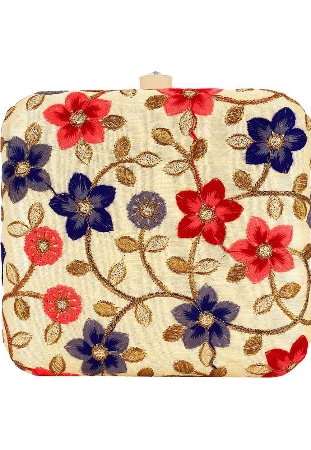 Beige Synthetic Embroidered Clutch 225629