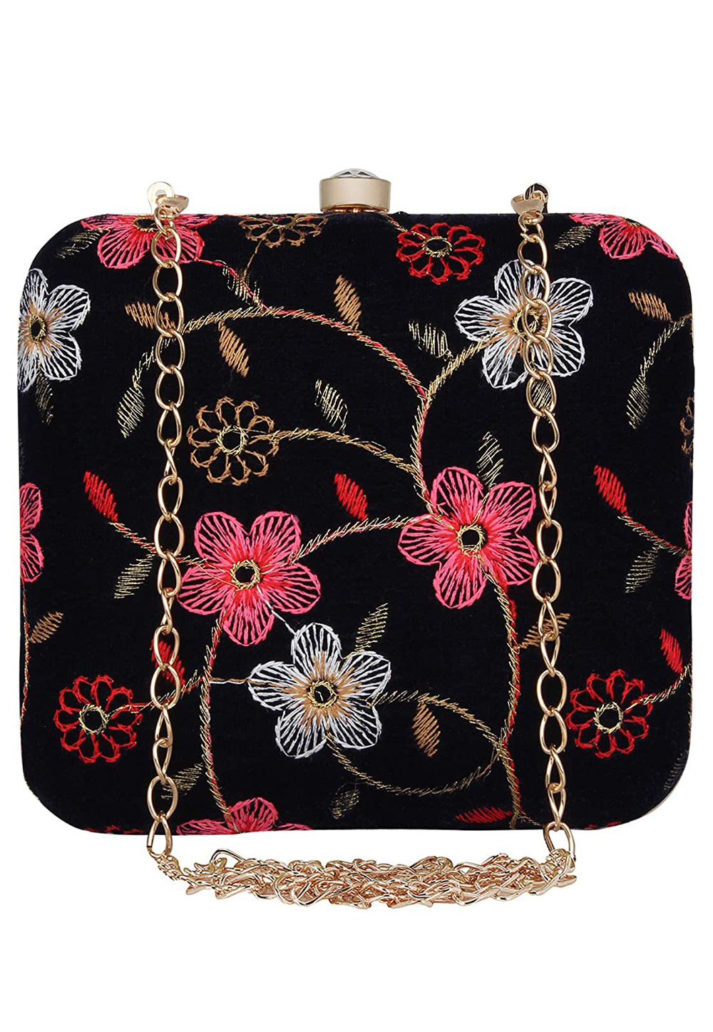 Black Synthetic Embroidered Clutch 225630