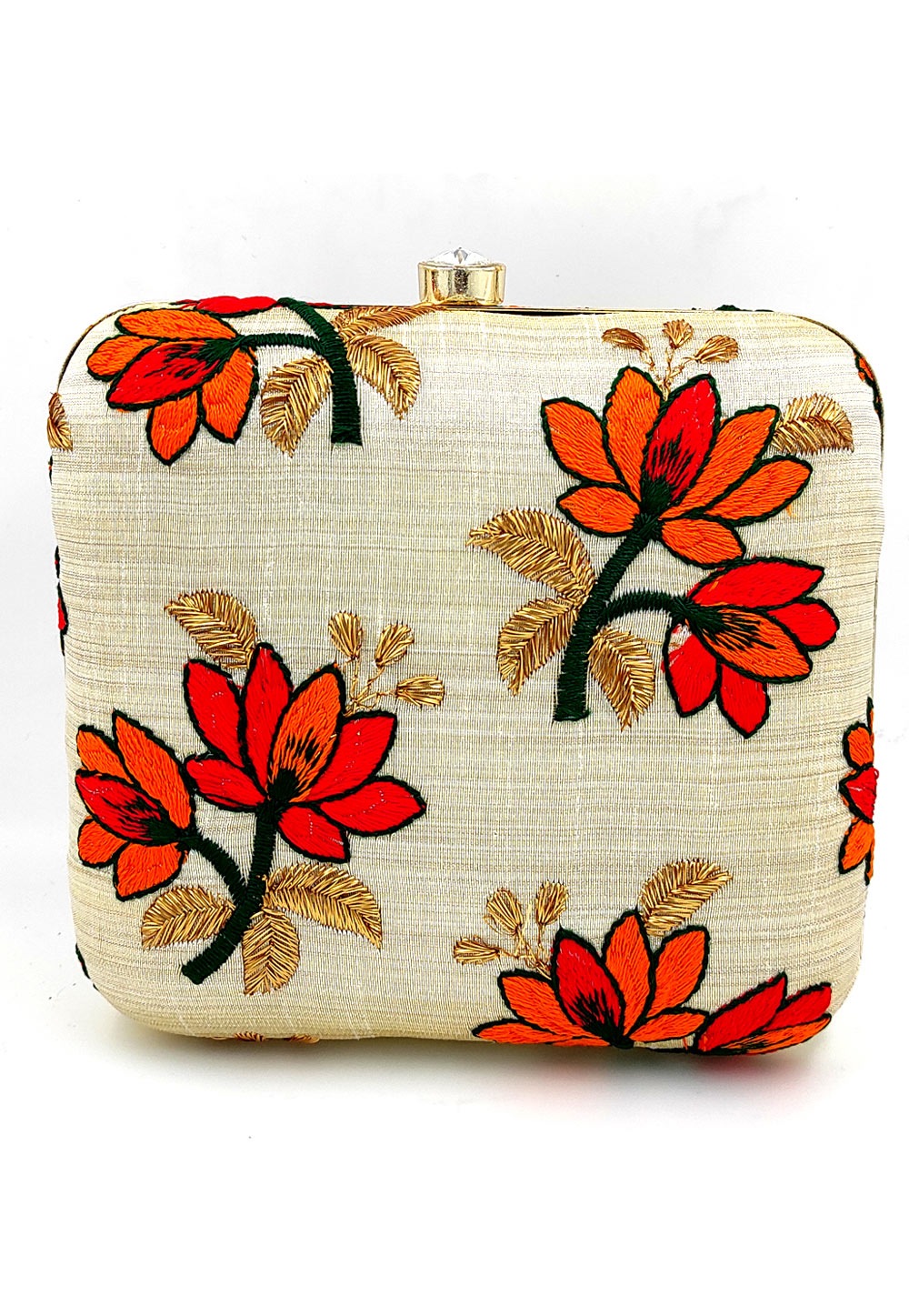 Off White Synthetic Embroidered Clutch 225631