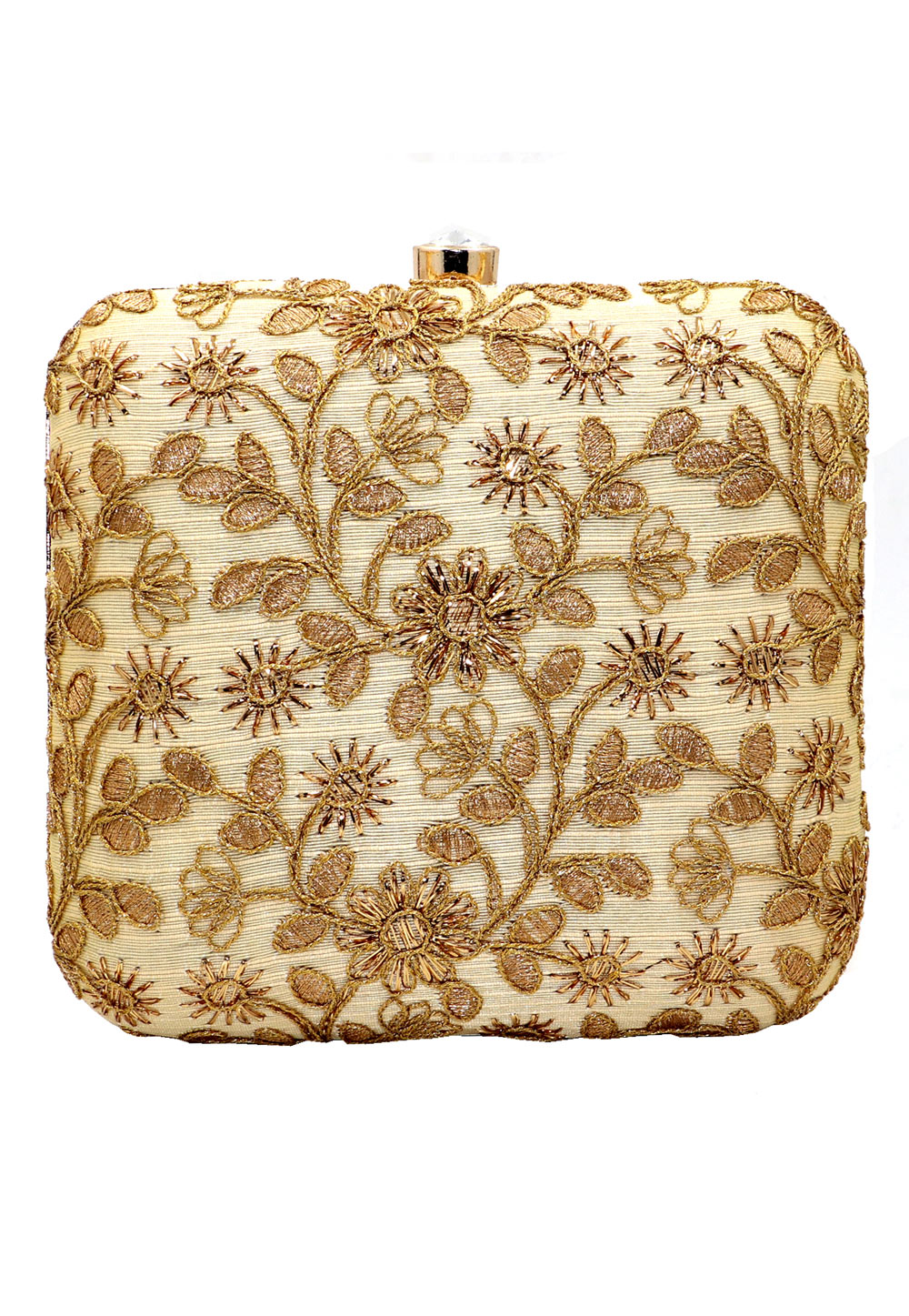 Golden Synthetic Embroidered Clutch 225632