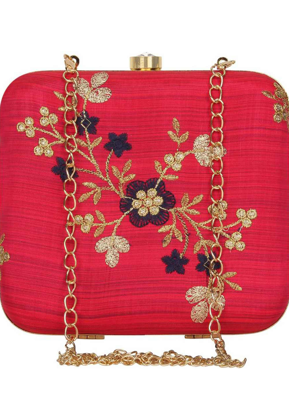 Pink Synthetic Embroidered Clutch 225634