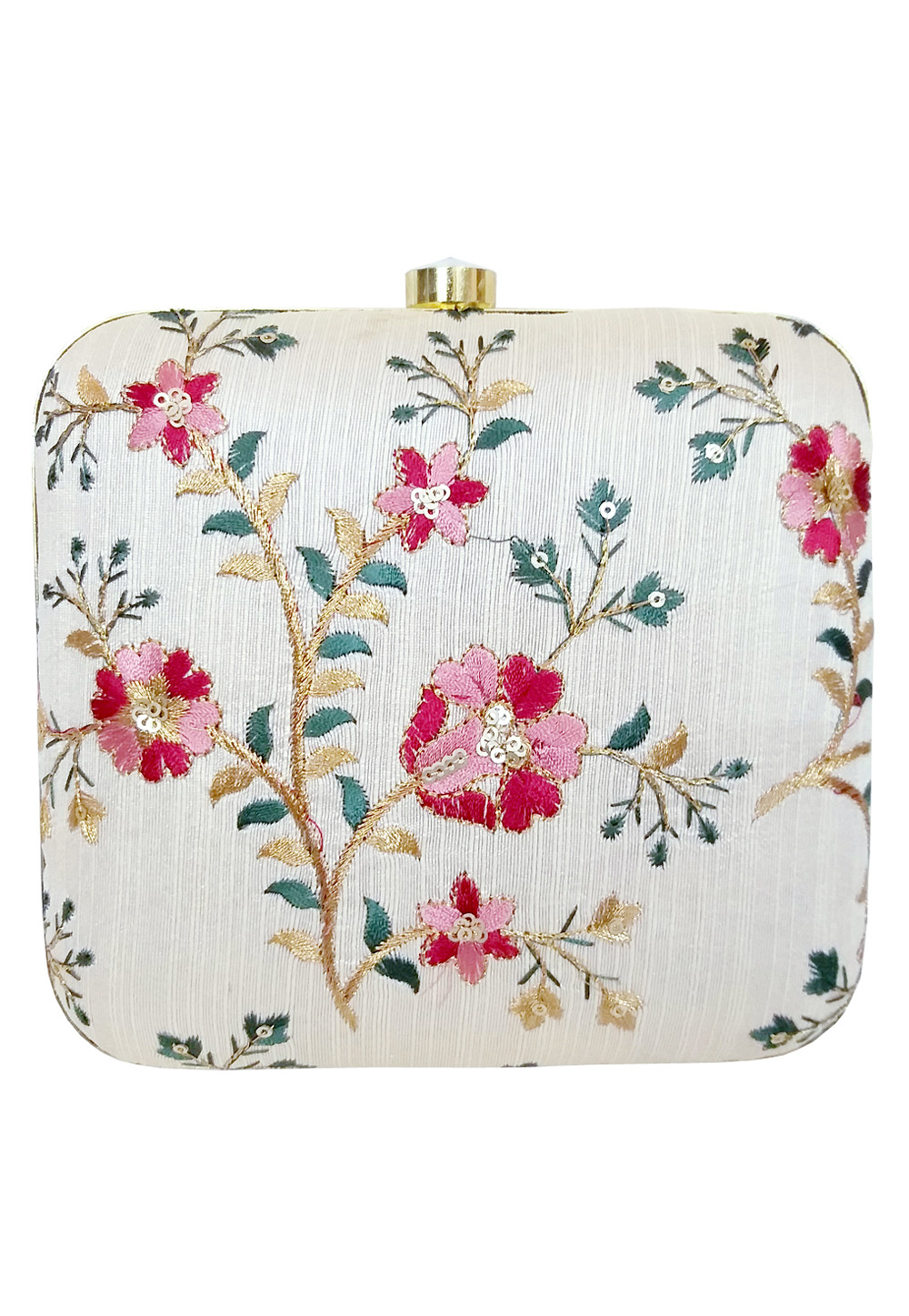 Off White Synthetic Embroidered Clutch 225635