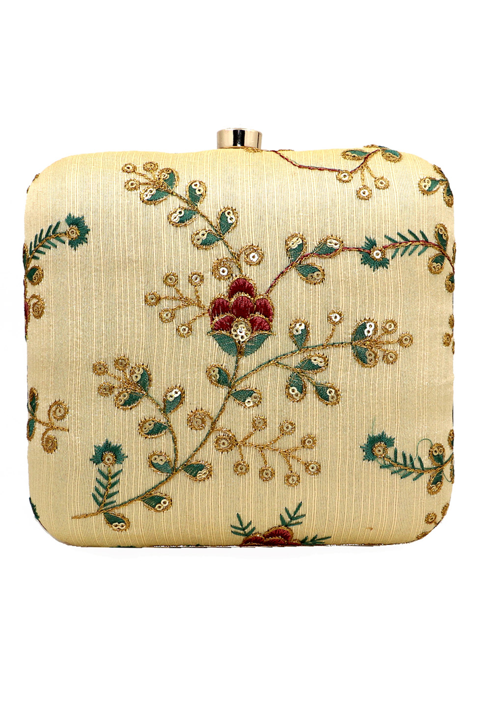 Golden Synthetic Embroidered Clutch 225636