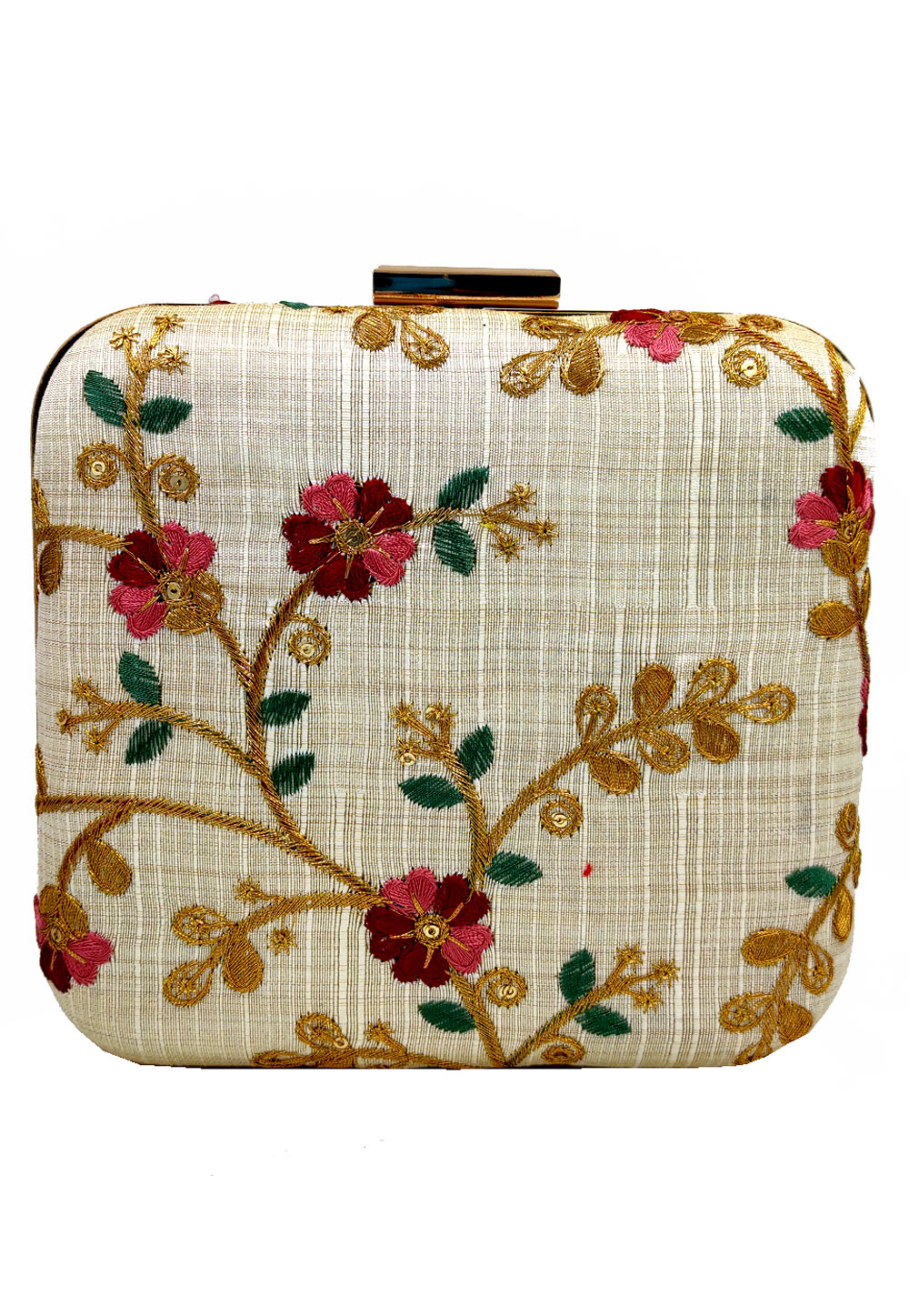 Beige Synthetic Embroidered Clutch 225637