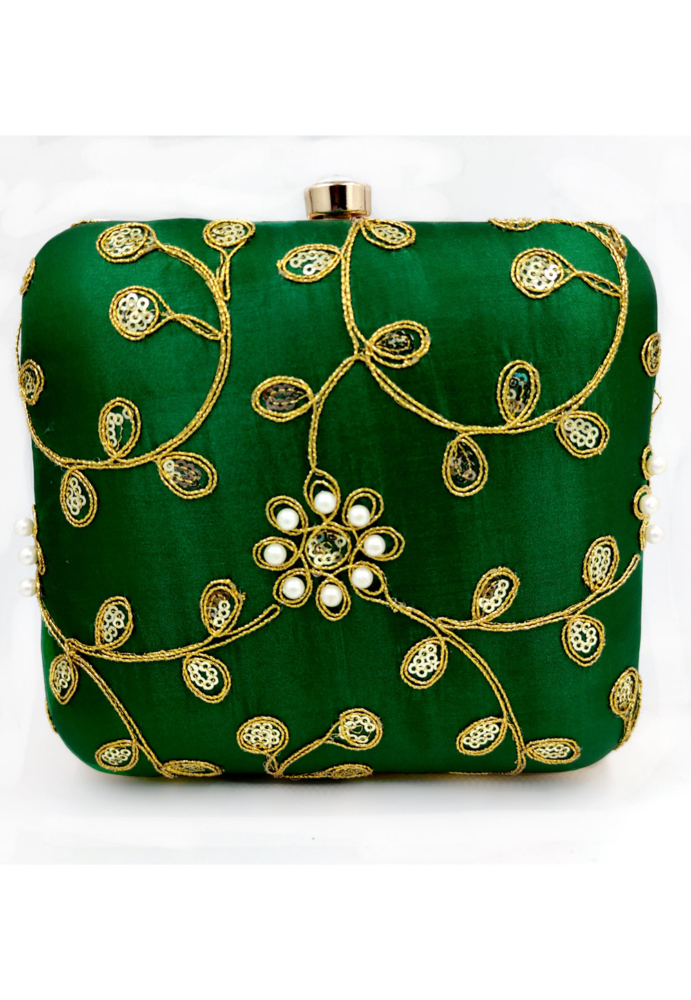 Green Synthetic Embroidered Clutch 225638