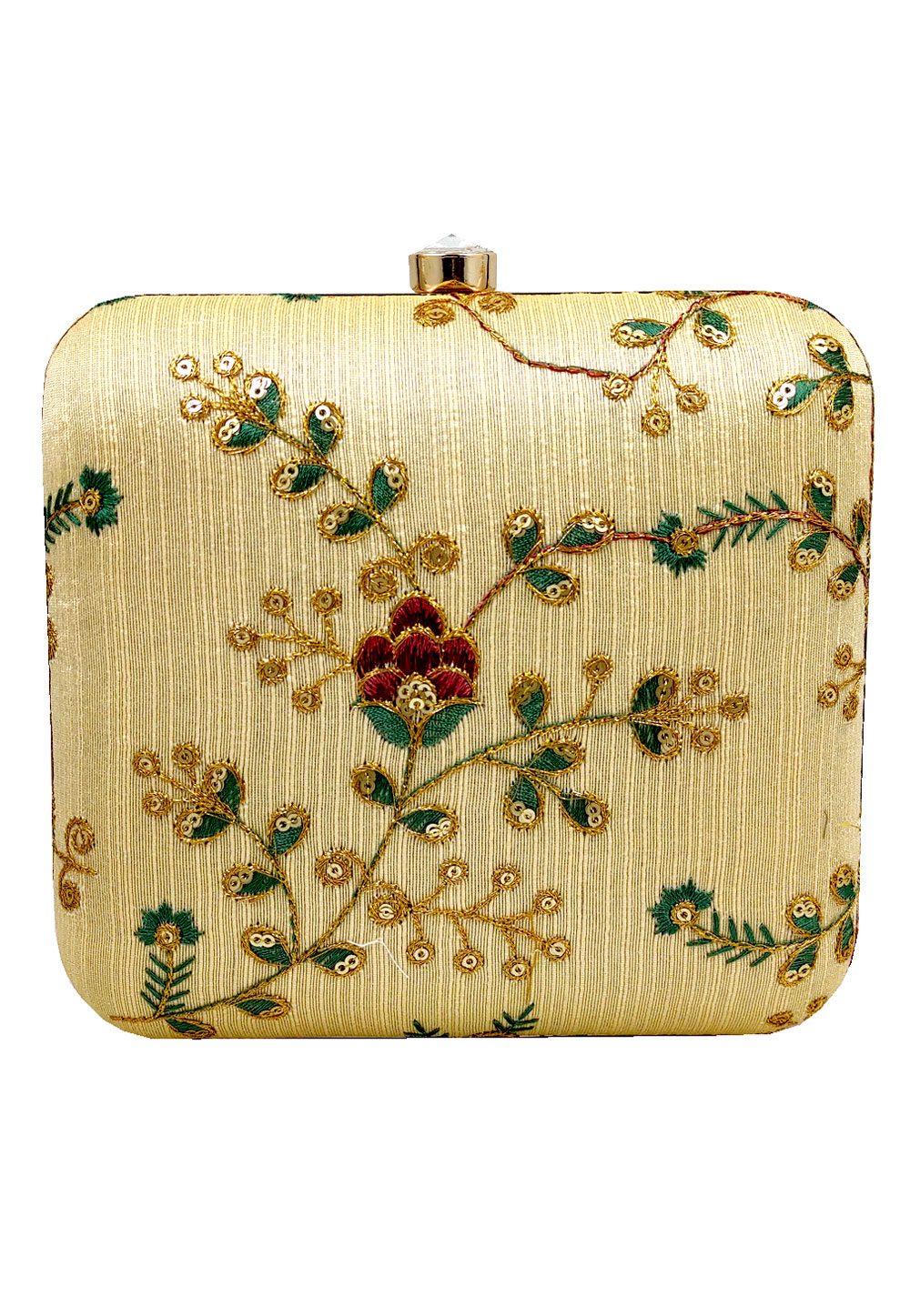 Golden Synthetic Embroidered Clutch 225639