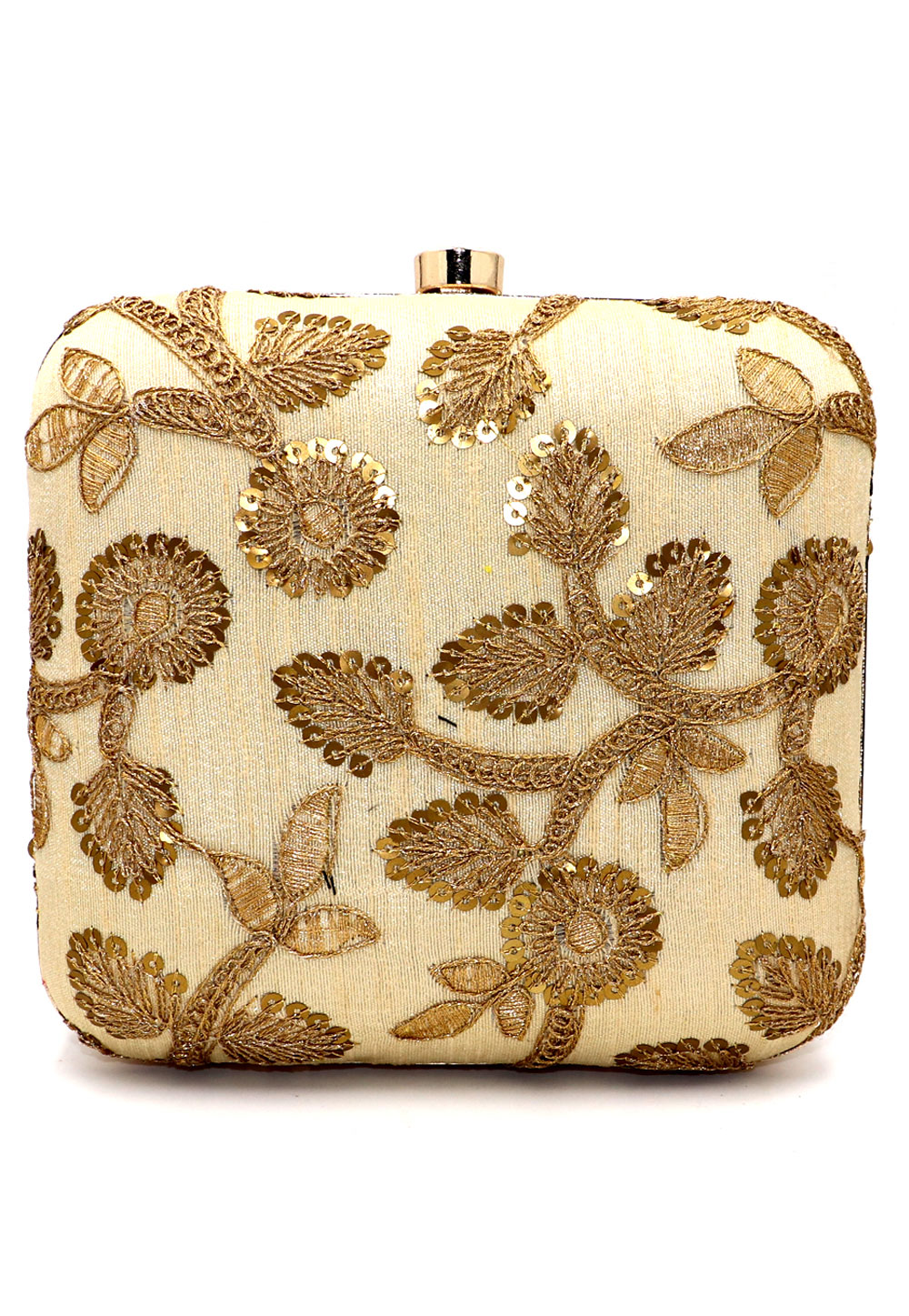 Beige Synthetic Embroidered Clutch 225641