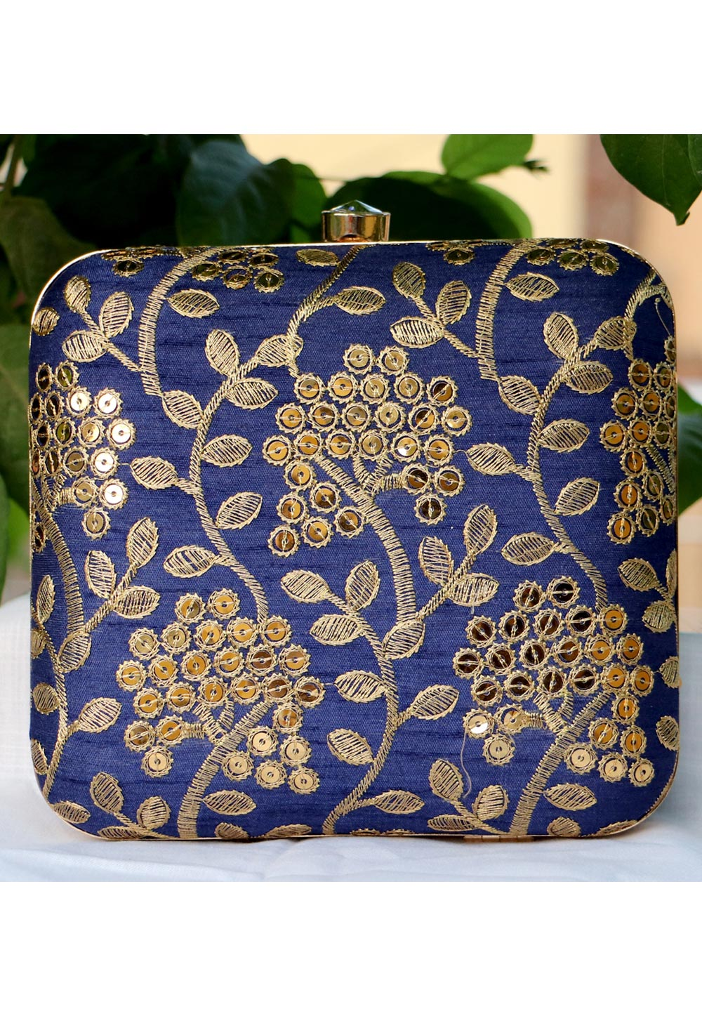 Blue Synthetic Embroidered Clutch 225642
