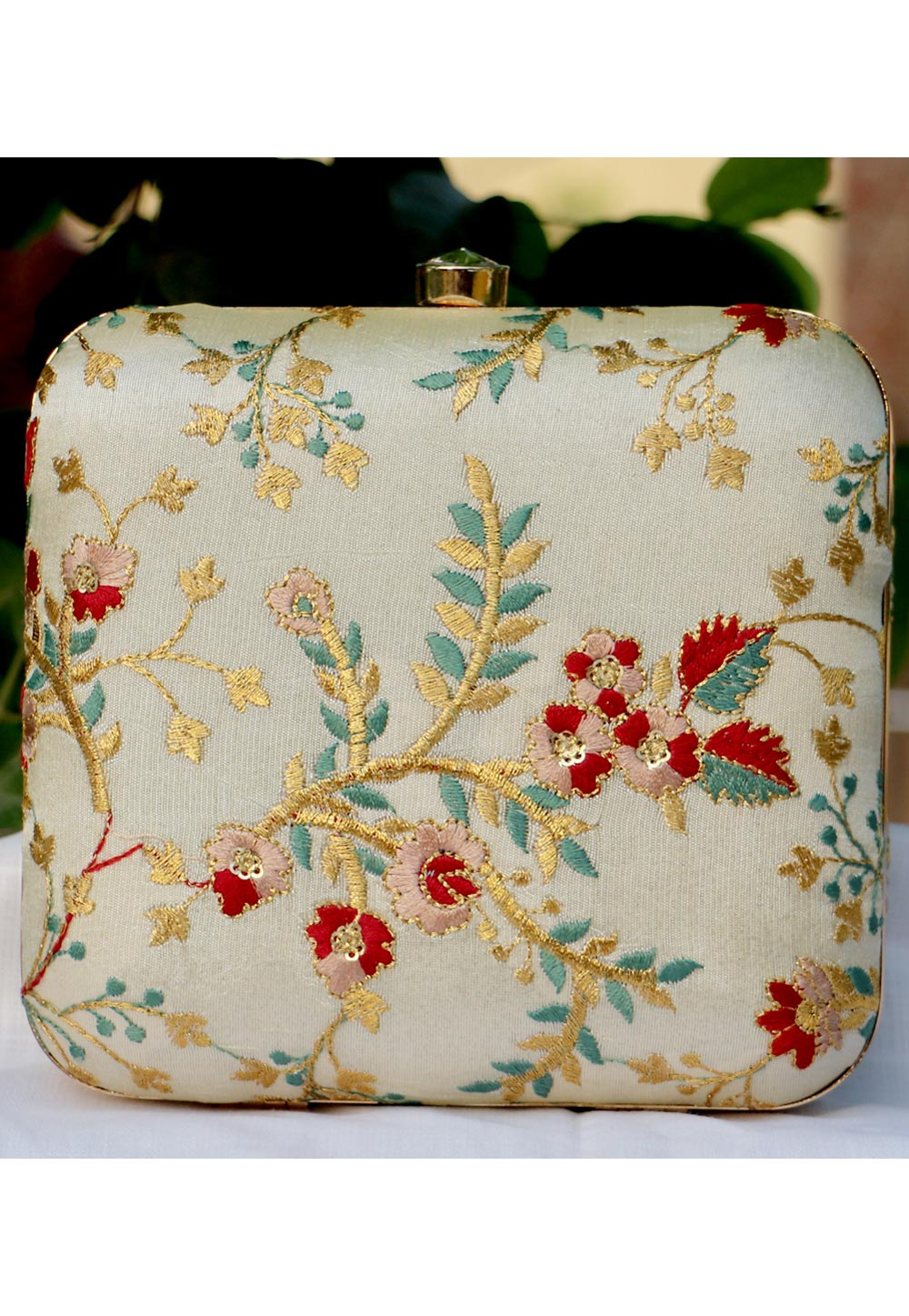 Off White Synthetic Embroidered Clutch 225643