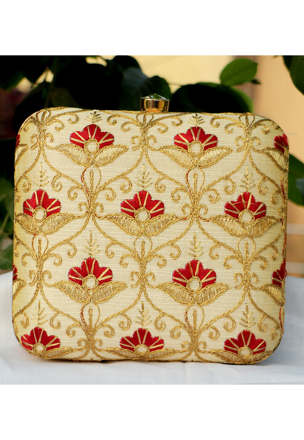 Golden Synthetic Embroidered Clutch 225644