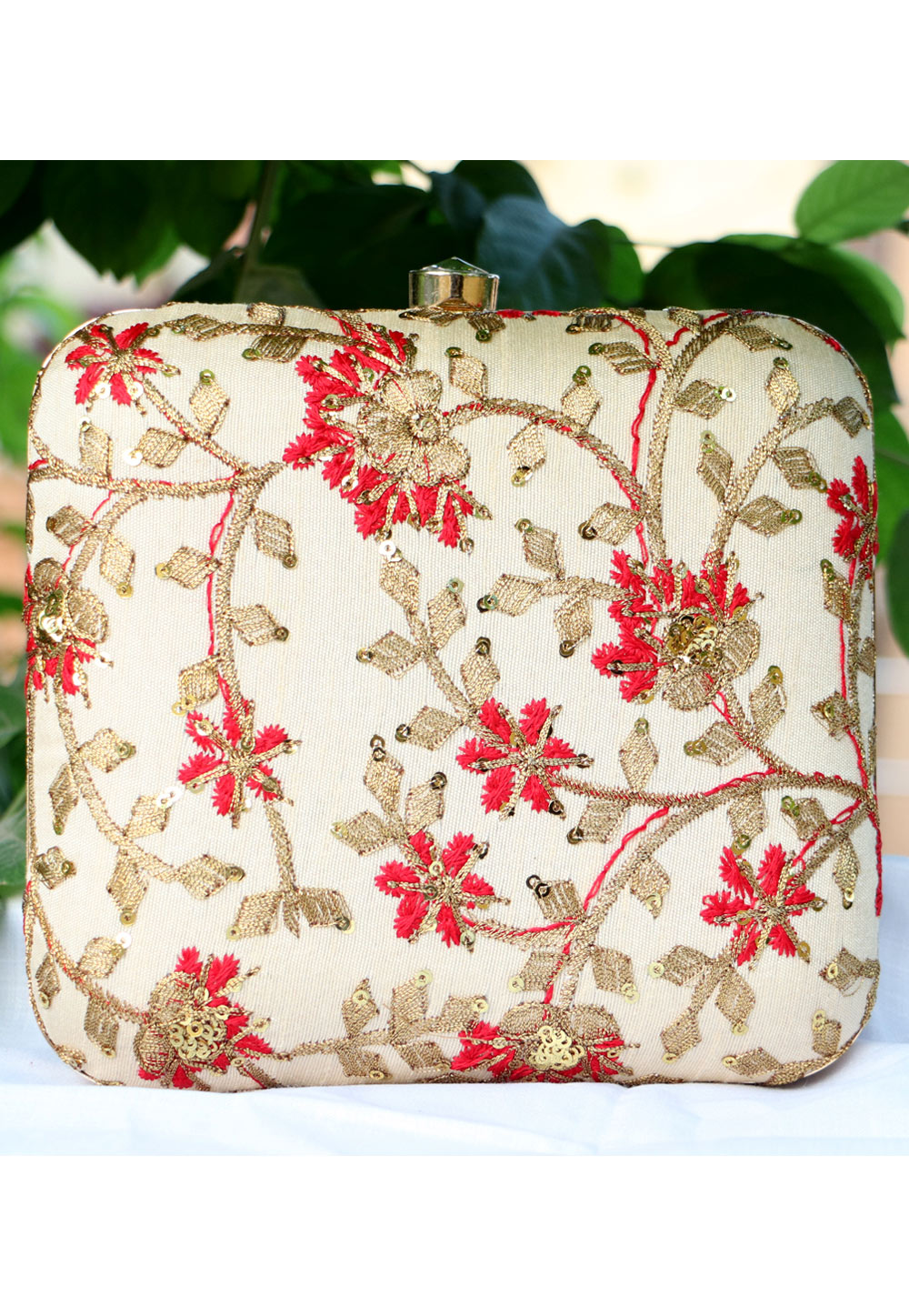 Off White Synthetic Embroidered Clutch 225646