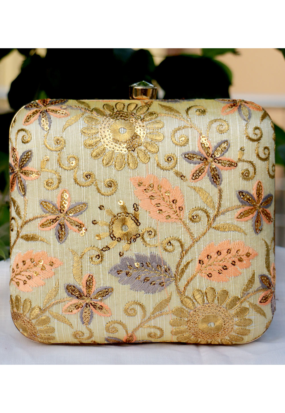 Beige Synthetic Embroidered Clutch 225647