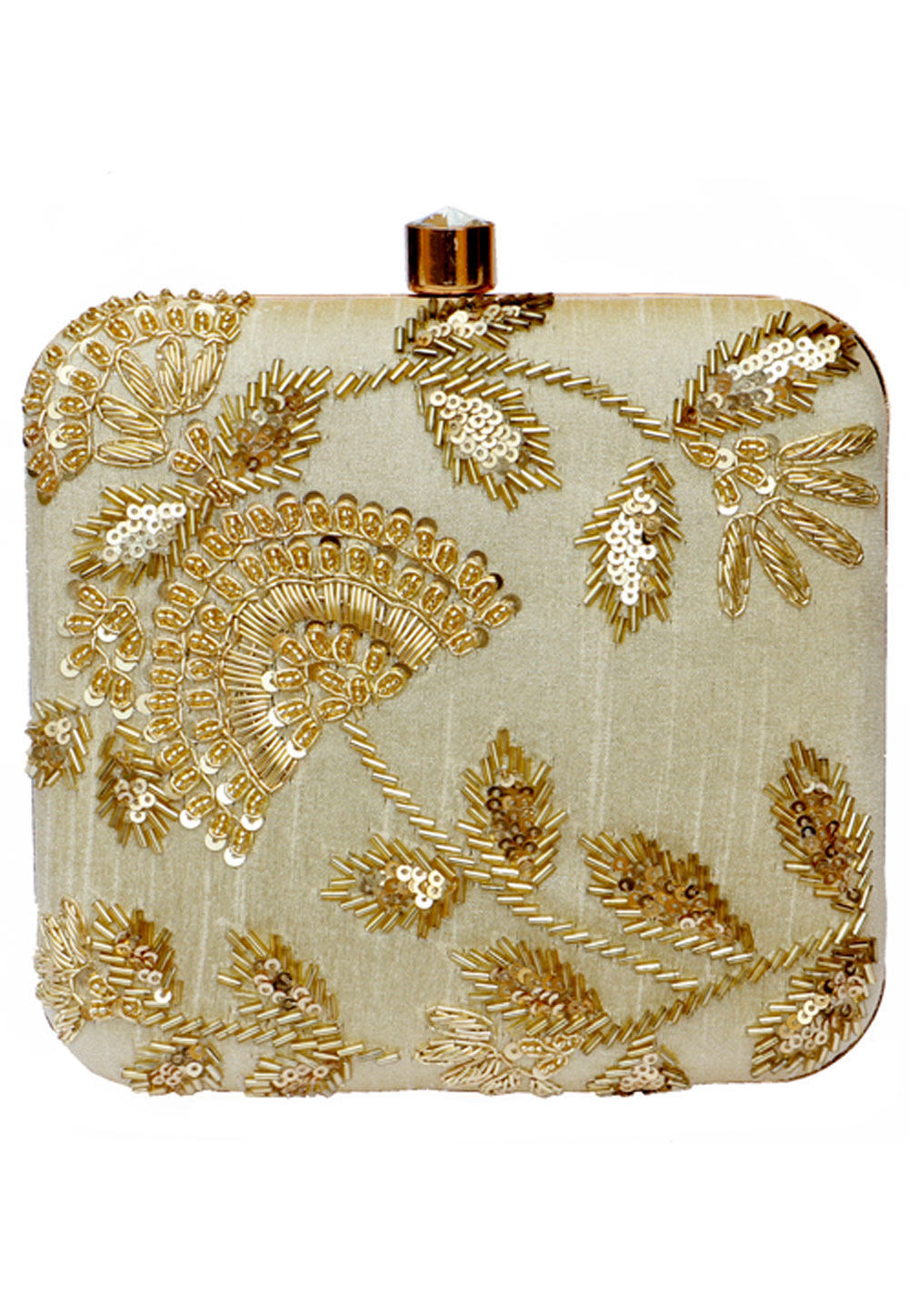 Off White Synthetic Embroidered Clutch 225648