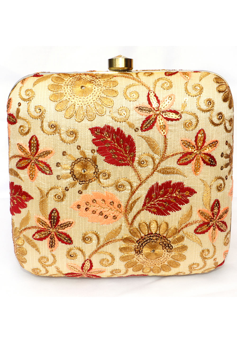 Golden Synthetic Embroidered Clutch 225649