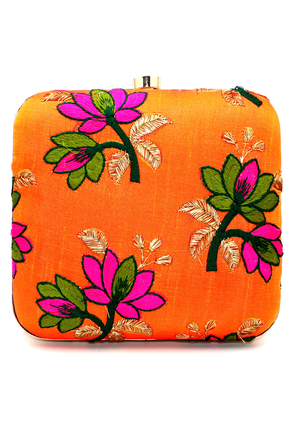 Orange Synthetic Embroidered Clutch 225650