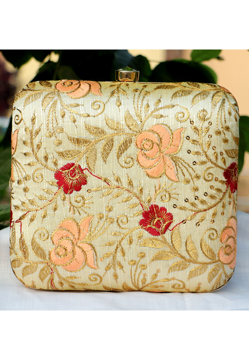 Beige Synthetic Embroidered Clutch 225654