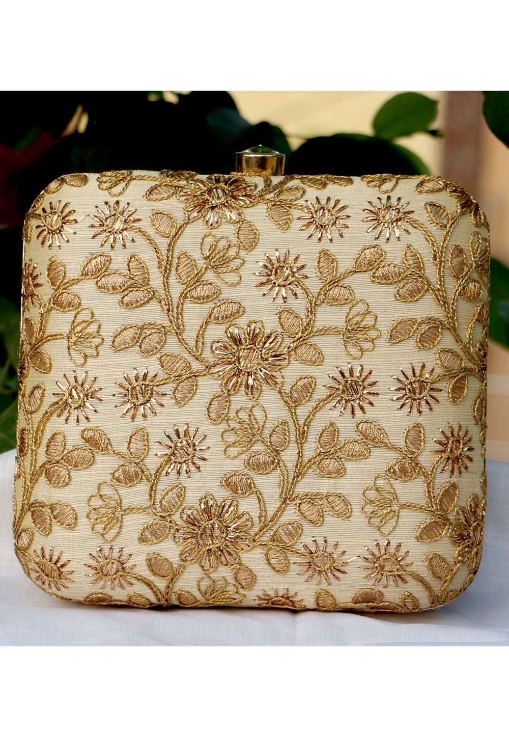 Beige Synthetic Embroidered Clutch 225655