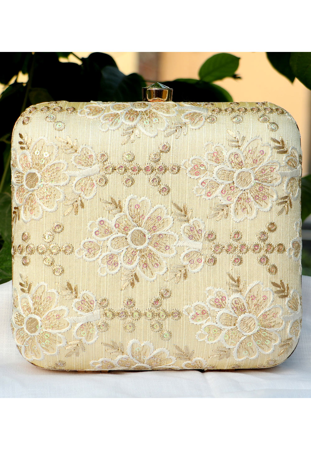 Beige Synthetic Embroidered Clutch 225656