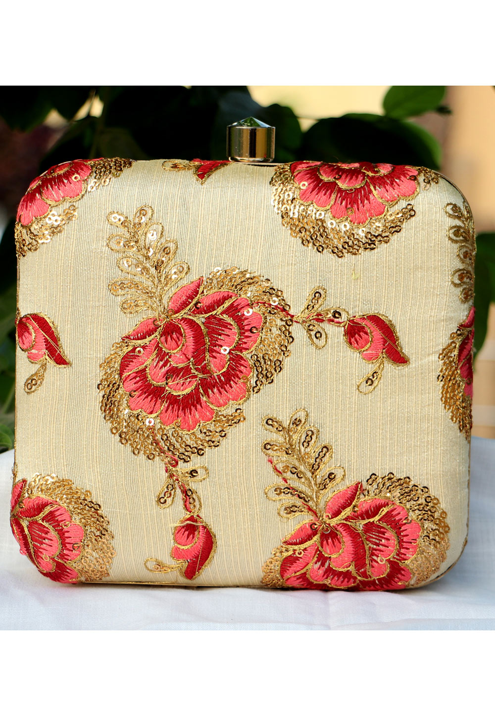 Beige Synthetic Embroidered Clutch 225657