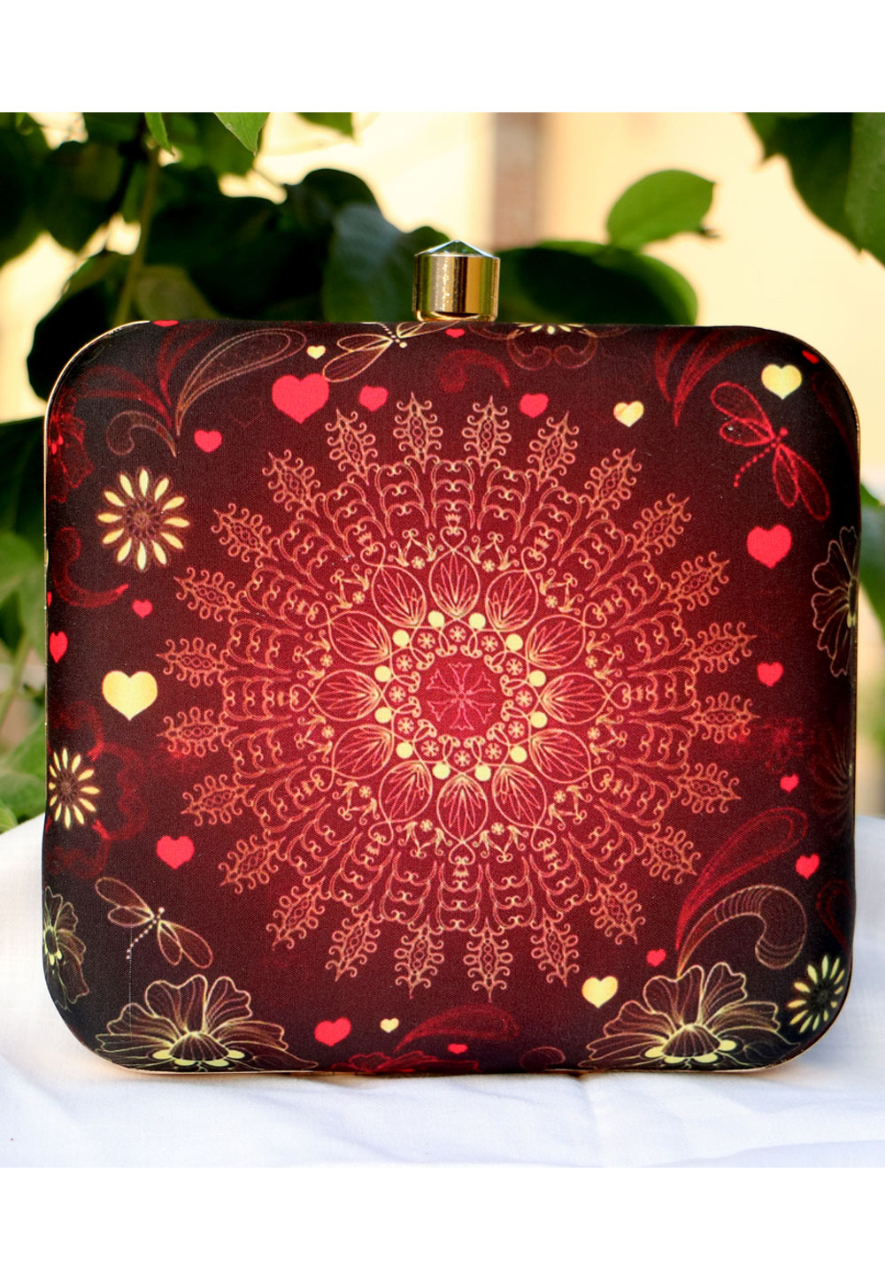 Maroon Synthetic Embroidered Clutch 225658
