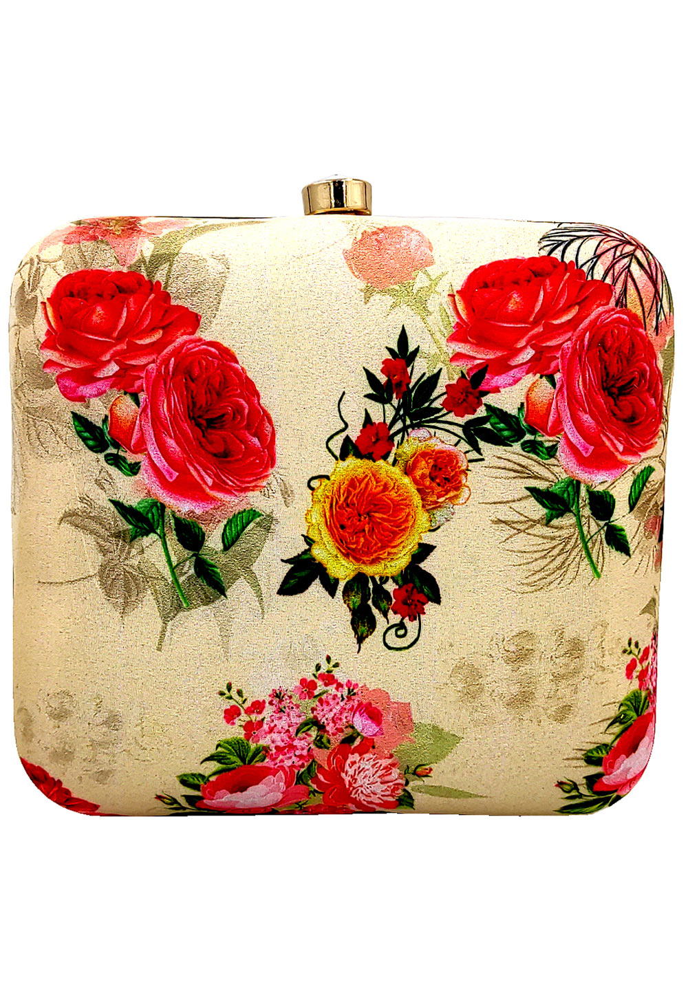Beige Synthetic Printed Clutch 225659
